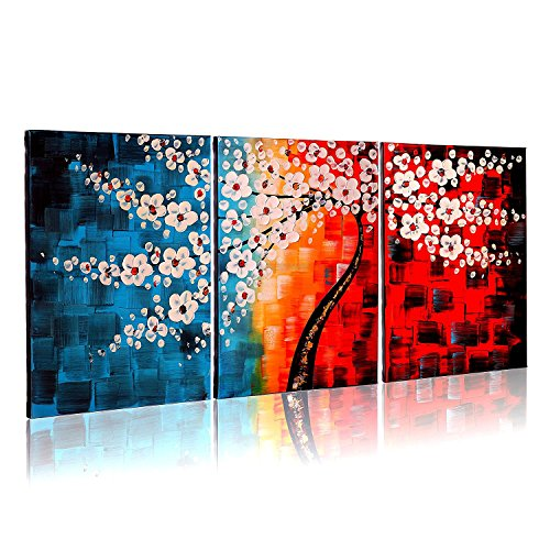 VASTING ART Hand Painted Modern Abtract Framed Canvas Wall Art Oil Paintings White Flowers Ready to Hang for Living Room Wall Decor (Bar Ideas For Living Room)