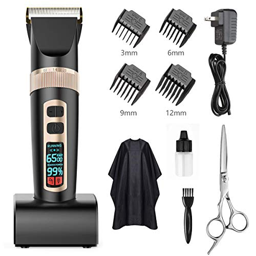 XUENG Hair Clippers for Men Cordless Rechargeable Professional Hair Trimmers Hair Clipper Set Ceramic Cutting Blade Hair Cutting Kit LCD Display