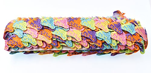 RayLineDo 15 Yards Colorful Strawberry Fabric Embroidery Polyester DIY Lace Applique Sewing Craft Lace Edge Trim Ribbon Edging Trimmings for Wedding Dresses Embellishment DIY Party Decor Clothes