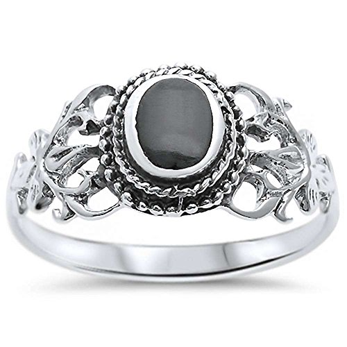 Sterling Silver Oval Simulated Black Onyx Victorian Filigree Ring Sizes 9