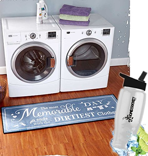 Gift Included- Decorative Carpet 60'' Laundry Room Rug And Decor Runner For Hardwood Floors + FREE Bonus Water Bottle by Homecricket by HomeCricket
