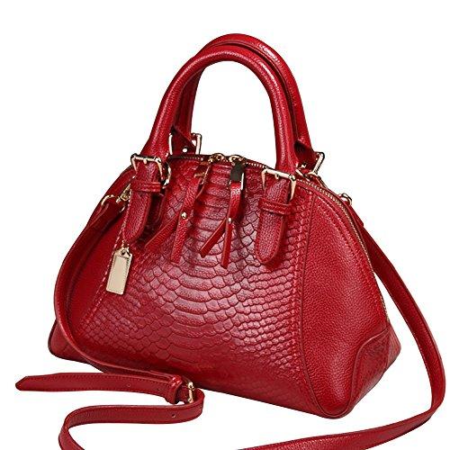 wealsex Serpent Fourre Sac CM 20 Tout Cuir Taille Main Femme Cabas Sac Bandoulière 27 Rouge Affaire Shopping Bureau 15 Elégant a rxrqYwz1