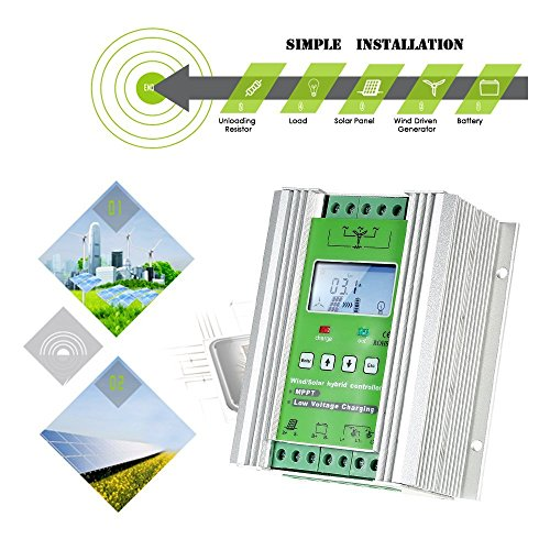 1000W Wind Solar Hybrid Charge Controller ,Off Grid MPPT Wind Turbine Solar Charge Controller Hybrid Controller 600W Wind and 400W Solar Panel 12V/24V Auto Distinguish by anancooler (Image #7)
