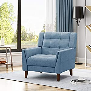 Christopher Knight Home Alisa Mid Century Modern Fabric Arm Chair, Blue and Walnut