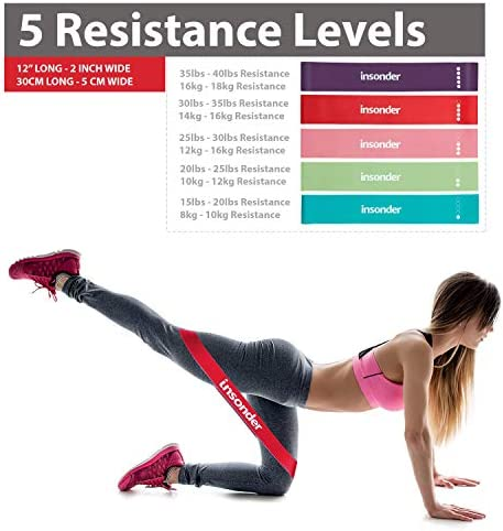 Insonder Resistance Bands - Latex Exercise Loop Bands for Workout and Stretching - Legs Butt Glutes Yoga Crossfit Fitness Physical Therapy Mini Home Equipment Women 4