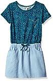 Calvin Klein Little Girls' Wild Fabric Mix Dress, Spotted Cat, 5