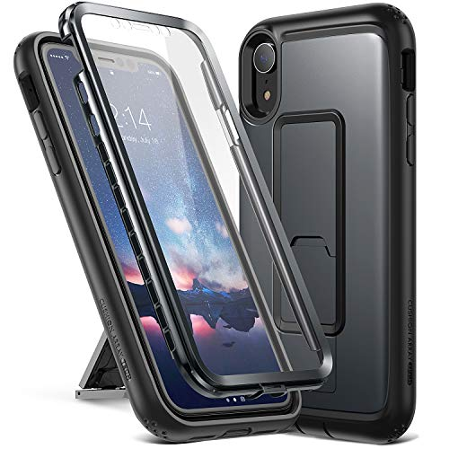 YOUMAKER Kickstand Case for iPhone XR, Full Body with Built-in Screen Protector Heavy Duty Protection Shockproof Slim Fit Cover for All Apple iPhone XR 6.1 inch - Black