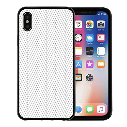 - Semtomn Phone Case for Apple iPhone Xs case,Timber Black and White Simple Wooden Floor Herringbone Parquet Pattern in Clipping Mask Wood for iPhone X Case,Rubber Border Protective Case,Black