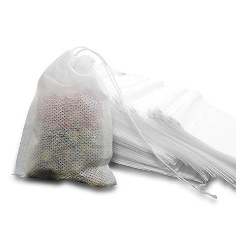MOAMUN Bolsas de filtro de té, bolsas de infusor de té desechables de 600 piezas con papel biodegradable y cordón de calidad alimentaria ambiental ...