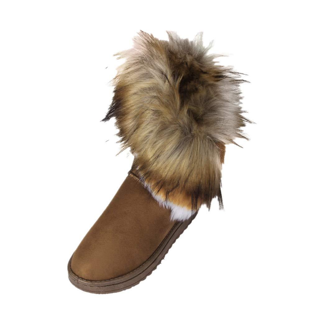 Botte FantaisieZ Bottes pour Femme de Mode Bottes Plates Doublées de Fourrure de Cheville Chaussures d'hiver Neige Chaude de Trois Couleurs