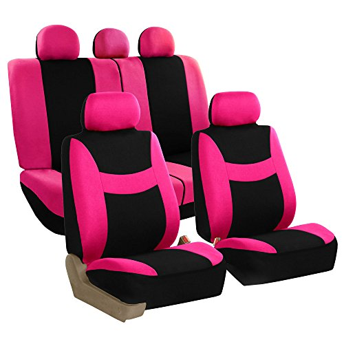FH Group FB030PINK115 full seat cover (Side Airbag Compatible with Split Bench Pink)