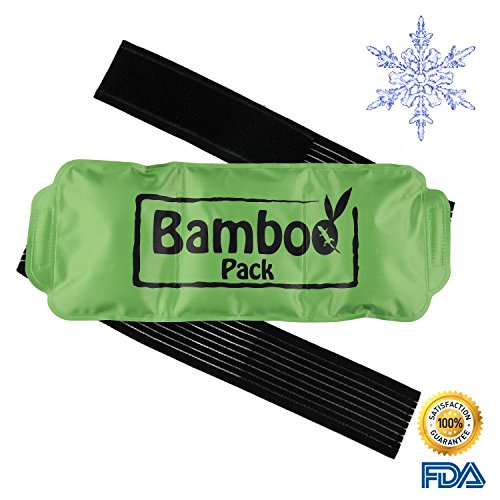 Reusable Ice Pack- Hot & Cold Compress, Medical Grade Ice Pack With Velcro Strap and Flannel Sleeve| Best Used as Heat Wrap or Ice Pack for Neck, Shoulder, Back, Ankle | Reusable & Durable| (Bamboo Ice)