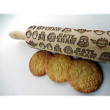 STAR WARS rolling pin. Wooden embossing rolling pin with Star Wars pattern for homemade cookies. Embossing rolling pin. Gift for Star Wars fan