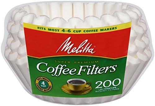 Melitta (63215) Super Premium 8-12 Cup Basket Coffee Filters, White, 200 Count