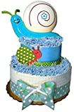 Nursery Critters Snail Light Diaper Cake Baby Gift - Baby Shower Gift Contains Blanket, Diapers, Night Light - Choice of Yellow, Pink, Blue Green - Gift Wrapped in Tulle (blue)