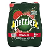 Perrier Strawberry Carbonated Natural Mineral Water Plastic Bottle, 1 L, 6 Count