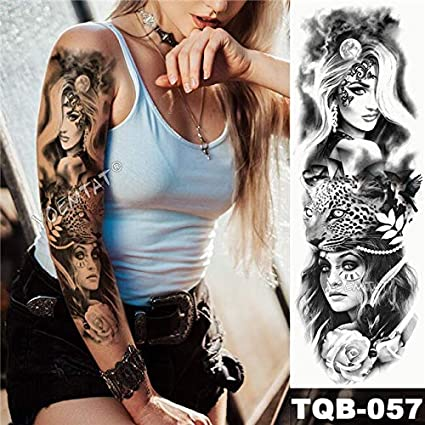 Gran brazo manga tatuaje tatuaje pegatina lirio pavo real completo ...