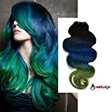 Uniwigs® 100% Brazilian Remy Human Hair Weft Ombre Color Weave Extensions in Big Sale (16 inch, T1B/Blue/Green)