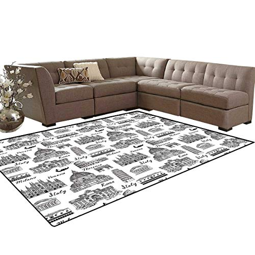 Milano Cocoa - City Bath Mat 3D Digital Printing Mat Monochrome Sketch Style Famous Places from Italy Rome Milano European Architecture Extra Large Area Rug 6'6