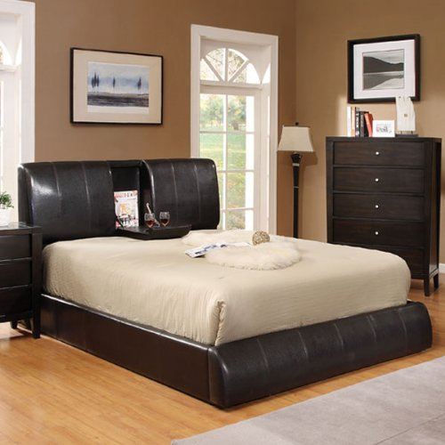 Leather Bycast Espresso (California King Platform Bed w/ Fold Down Tray Cup Holder in Espresso Bycast Leather)