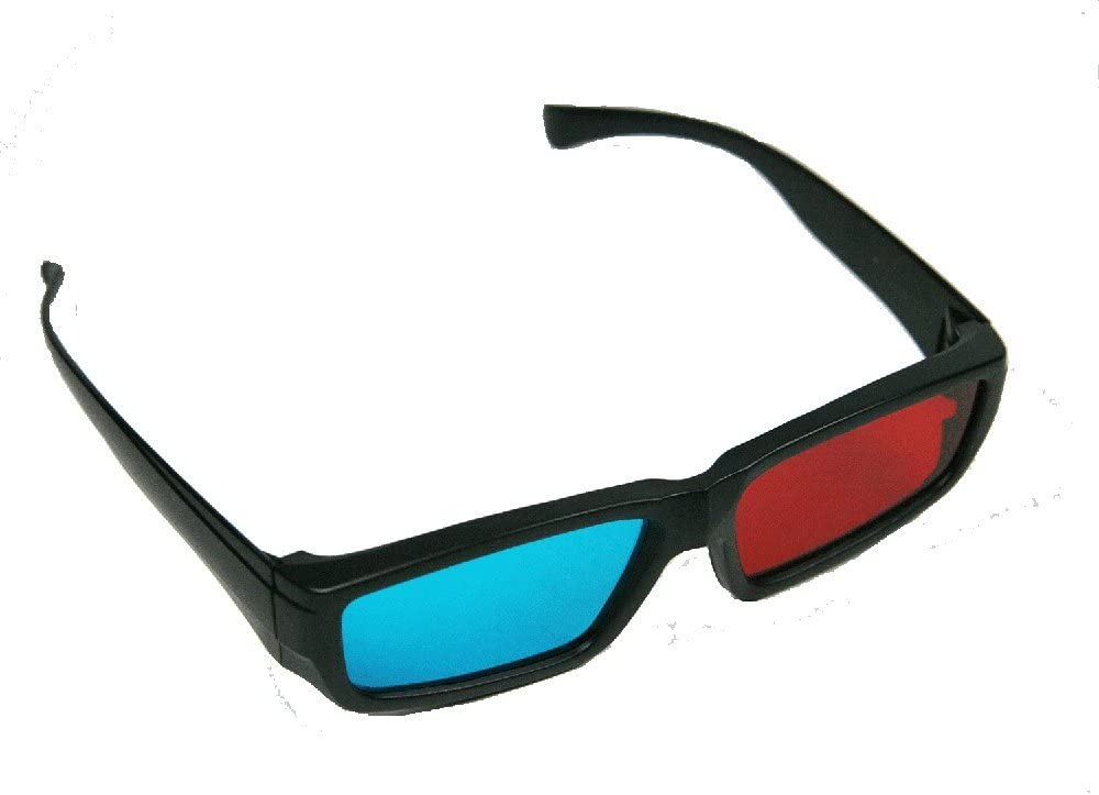 BIRUGEAR 2X Red and Cyan Glasses Fits Over Most Prescription Glasses for 3D Movies Gaming and TV 1x Frameless Bottom ; 1x Anaglyph Style