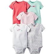 Carter's Baby Girls' Multi-Pk Bodysuits, Mint/Pink, Newborn