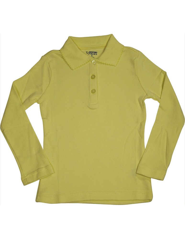 French Toast School Uniform Girls Long Sleeve Polo with Picot Collar, Yellow, 18
