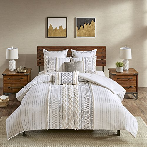 Ink+Ivy Imani Cotton Comforter Mini Set Ivory Full/Queen