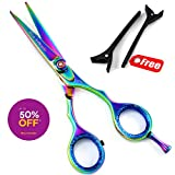 "Professional Barber Razor Edge Hair Cutting Scissors/ Shears,dog grooming scissors,pet suplier scissors,4.5"",5.0""5.5""6.0""&6.5"" + Scissors case & accessories (5.0"")"