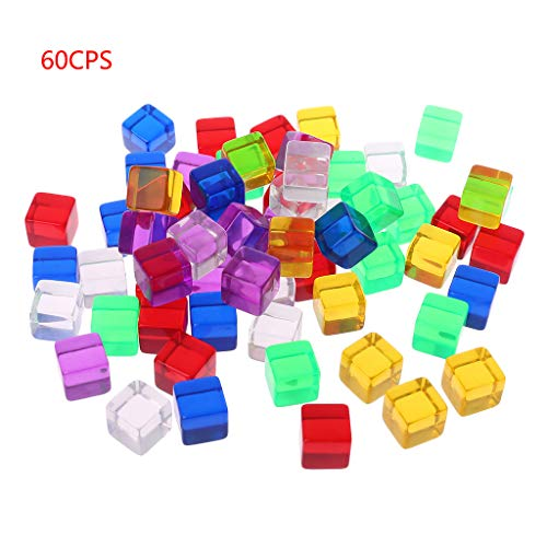 RITER 60 Pcs Game Dice, Number 16 Square Transparent Dices, Mix Color Party Desktop Club Table Games Lottery for Dungeon D & D