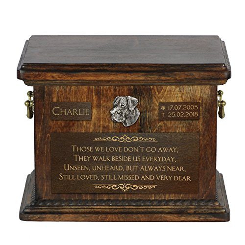 Art Dog Ltd. Great Dane, urn for dog's ashes with relief and sentence with your dog name and - Urn Great Dane