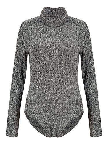 69d358a1d2 Persun Women s Dark Grey Turtleneck long sleeve Mixed Cable Knitted Bodysuit