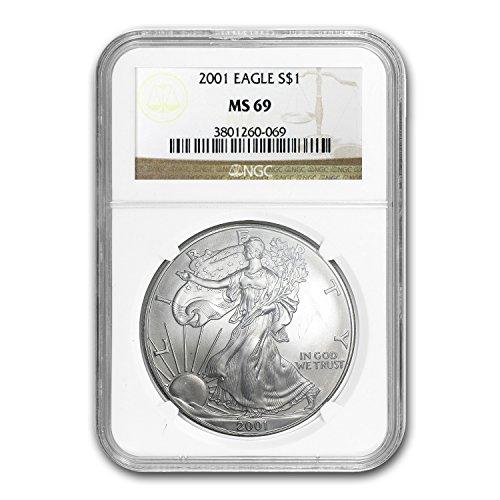 2001 Silver American Eagle MS-69 NGC 1 OZ MS-69 NGC