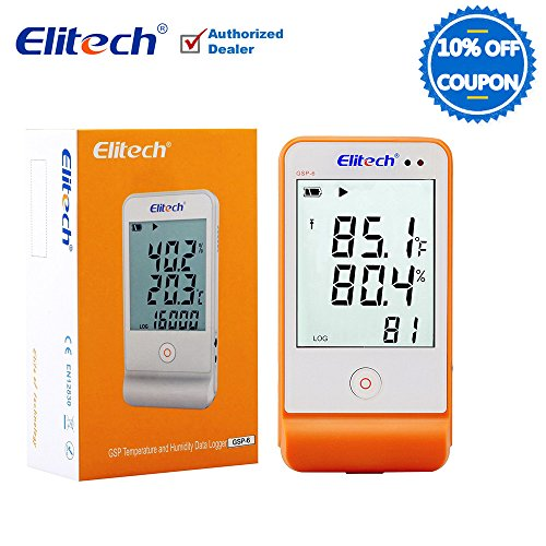Elitech GSP6 Temperature and Humidity Data Logger Recorder Monitor Temp Data Logger Indicator Thermometer Humidity Meters with External Probes Sensors