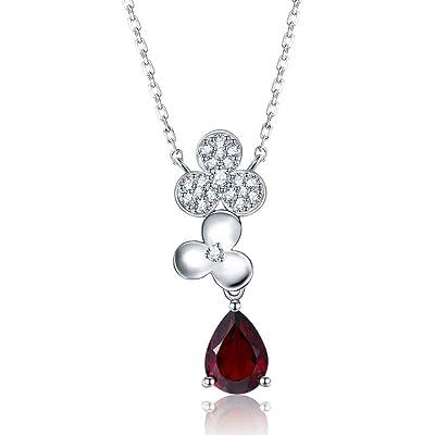 1.3ct Collar Genuino clásico Granate Natural Colgante 925 Plata esterlina Marca Boda joyería Fina para Mujeres: Hogar