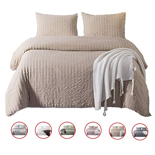 (DuShow 3 Pieces Duvet Cover Set Queen Solid Taupe Bedding Set Soft Seersucker Hotel Quality Comforfer Cover Set with Zipper Closure)