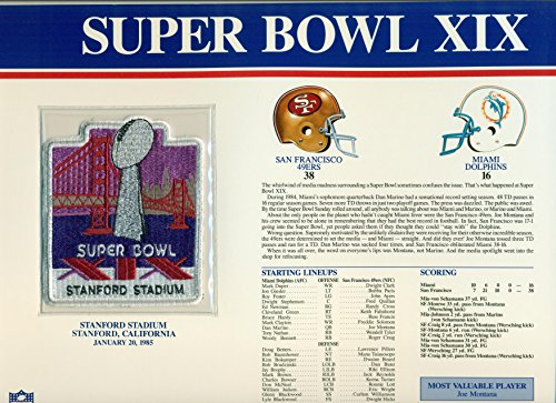 (Super Bowl XIX 19 Official Patch San Francisco 49ers vs Miami Dolphins at Stanford Stadium)