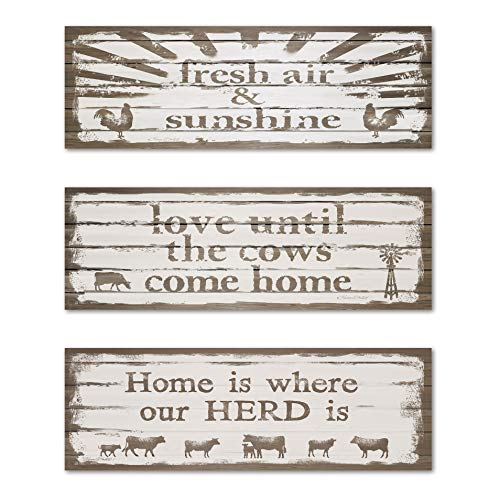 Gango Home Décor Country-Rustic Fresh Air & Sunshine, Love Until The Cows Come Home, Home is Where Our Herd is by Karen Tribett (Printed on Paper); Three 18x8in Unframed Paper Posters