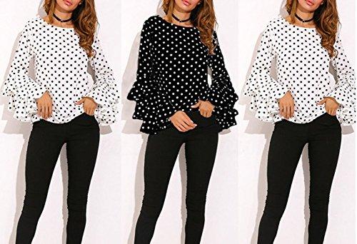 Tee Rotondo Maniche Maglietta Casual Campana Tops Camicie Shirts Donne Nuovo Tumblr Bluse T E Collo Verde shirt A Primavera Pois Moda Autunno 47fXU