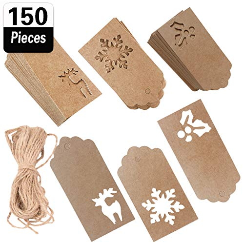 Christmas Gift Hang Tags - 150 Pieces Christmas Kraft Paper Gift Tags Hang Labels Hollow Snowflake Deer Berry Design with 100 Feet Natural Jute Twine for DIY Arts and Crafts, Wedding Christmas Thanksgiving and Holiday Gift