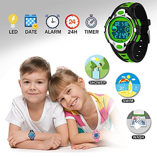 Siniya Kids Watch Quartz Watch Waterproof Swimming Sports Watch Boys Girls Led Digital Watches for Kids (7 Colors Black Green) by Siniya (Image #2)