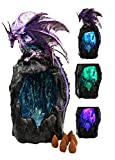 Purple Azurite Quartz Dragon Climbing On Gemstone Mountain Backflow Incense Burner Figurine Faux Stone