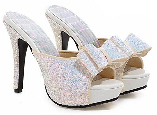 Easemax Womens Sequins Bowknot Open Toe Dressy Stiletto High Heels Slip On Platform Slide Sandals White fFaIL7JA8i