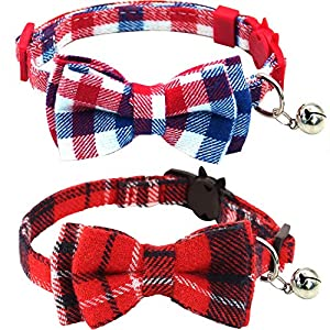 KUDES 2 Pack/Set Cat Collar Breakaway with Cute Bow Tie and Bell for Kitty and Some Puppies, Adjustable from 7.8-10.5 Inch 20