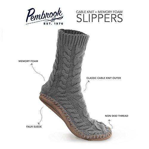 Pembrook Ladies Tall Cable Knit Slipper Socks Memory Foam Non