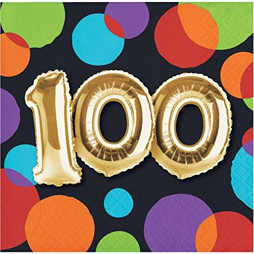 Balloons Beverage Party Napkins Birthday - Balloon 100th Birthday Beverage Napkins, 48 ct