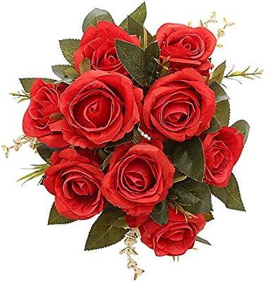 Mehelany Artificial Flowers Fake Silk Handmade Flower Bouquet For