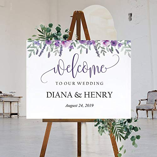 Dozili Purple Wedding Welcome Sign Template Printable Lavender