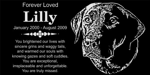 Personalized Black Labrador Retriever Pet Memorial 12''x6'' Engraved Black Granite Grave Marker Head Stone Plaque LIL1 by Lazzari Collections (Image #1)