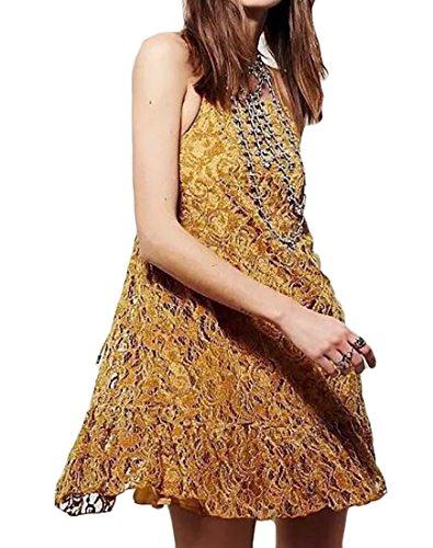 Jaycargogo Empreintes De Femmes Sans Manches Licol Patineuse Dos Nu Mini Robe En Image